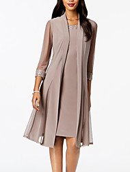 cheap -Two Piece Mother of the Bride Dress Elegant & Luxurious Wrap Included Jewel Neck Knee Length Chiffon Long Sleeve with Ruching 2021