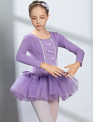 cheap -Ballet Dress Lace Bow(s) Ruching Girls' Training Performance Long Sleeve High Spandex Lace Tulle