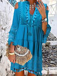 cheap -Women's Shift Dress Short Mini Dress Blue Yellow Blushing Pink Beige 3/4 Length Sleeve Tassel Fringe Lace Cold Shoulder Summer Deep V Hot Casual Boho 2021 S M L XL XXL 3XL