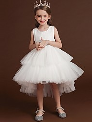 cheap -Princess / Ball Gown Asymmetrical Wedding / Party Flower Girl Dresses - Lace / Tulle Sleeveless Jewel Neck with Belt / Bow(s) / Tier