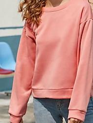 cheap -Women's Sweatshirt Solid Colored Basic Yellow Blushing Pink S M L XL