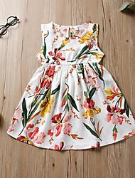 cheap -Kids Toddler Girls' Flower Cute White Floral Print Sleeveless Knee-length Dress White