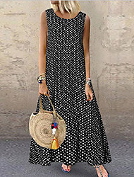 cheap -Women's A-Line Dress Maxi long Dress Sleeveless Polka Dot Summer Hot Casual 2021 White Black Blue S M L XL XXL