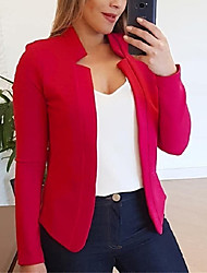 cheap -Women's Fall Fall & Winter Jacket Daily Work Basic V Neck Stand Patchwork Short Solid Colored White / Black / Red S / M / L