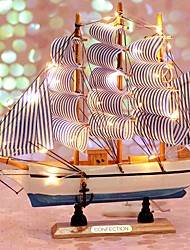 cheap -Sailboat Model with LED String Model Kits Retro Ship Crafts Handmade Wooden Sailing Boats Kids Toys Christmas Gift Home Decor Random Color