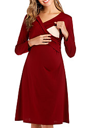 cheap -Women's A-Line Dress Knee Length Dress - Long Sleeve Solid Color Summer Casual 2020 Wine Black Army Green Gray S M L XL XXL