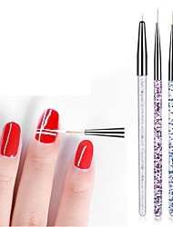 cheap -3pcs Nail Pencil Nail Pen Carvings Color Painting Stay Wire Crochet Pen Superfine