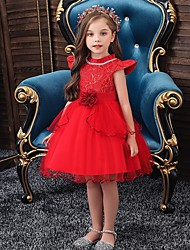 cheap -Princess / Ball Gown Knee Length Wedding / Party Flower Girl Dresses - Tulle Cap Sleeve Jewel Neck with Sash / Ribbon / Embroidery / Flower