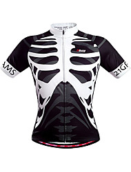 cheap -21Grams Men's Unisex Short Sleeve Cycling Jersey Polyester Black / White Skeleton Bike Jersey Top Mountain Bike MTB Road Bike Cycling Breathable Quick Dry Back Pocket Sports Clothing Apparel