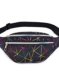 cheap -Unisex Zipper PU Leather Fanny Pack 2020 Black / Blushing Pink / Silver