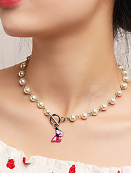 cheap -Women's Pendant Necklace Necklace Pearl Necklace Classic Butterfly Simple Classic Trendy Fashion Imitation Pearl Chrome Silver 40.5 cm Necklace Jewelry 1pc For Anniversary Party Evening Street Beach