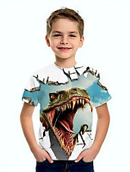 cheap -Kids Boys' T shirt Tee Short Sleeve Dinosaur Animal Print Children Summer Tops Basic Blue