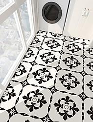 cheap -PVC antiskid twill printing black flower splicing paste bathroom bedroom living room DIY floor paste 4Pcs 30*30cm