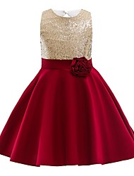 cheap -Ball Gown Knee Length Wedding / Party Flower Girl Dresses - Satin Chiffon Sleeveless Jewel Neck with Appliques / Paillette
