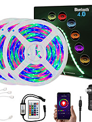 cheap -15M (3x5M) App Intelligent Control Bluetooth Music Sync Flexible Led Strip Lights Waterproof 2835 RGB SMD 810 LEDs IR 24 Key Bluetooth Controller with 12V 3A Adapter Kit