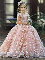 cheap -Princess / Ball Gown Floor Length Wedding / Party Flower Girl Dresses - Tulle Sleeveless Jewel Neck with Appliques / Cascading Ruffles / Solid