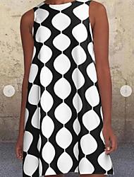 cheap -Women's Shift Dress Knee Length Dress - Sleeveless Geometric Summer Casual 2020 White Purple S M L XL XXL XXXL