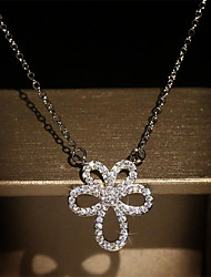 cheap -Women's Pendant Necklace Classic Flower Fashion Copper Gold Plated Imitation Diamond Silver 50 cm Necklace Jewelry For