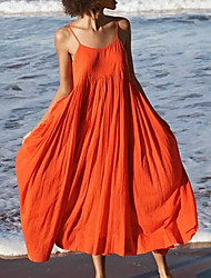 cheap -Women's Strap Dress Knee Length Dress Blue Orange White Black Light Blue Sleeveless Solid Color Summer V Neck Hot Sexy Boho 2021 S M L XL XXL 3XL / Cotton / Cotton