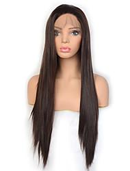 Недорогие -мода королева темно-коричневый длинный прямой синтетический парик фронта шнурка высокой плотности натуральная линия волос ежедневно носить для женщин