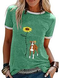 cheap -Women's T shirt Cartoon Round Neck Tops Black Yellow Orange