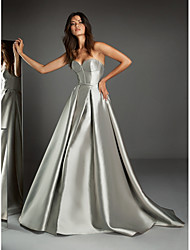 cheap -A-Line Open Back Formal Evening Dress Sweetheart Neckline Sleeveless Sweep / Brush Train Satin with 2020