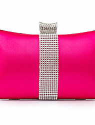 cheap -Women's Bags PU Leather Polyester Evening Bag Crystals Chain Solid Color Party Wedding Event / Party Wedding Bags Handbags Wine Black Purple Fuchsia