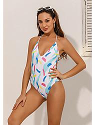 cheap -Women's Sexy Briefs One-piece Swimwear Swimsuit - Geometric Print S M L White