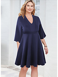 cheap -Women's A-Line Dress Knee Length Dress - Half Sleeve Solid Color Summer Casual Chinoiserie 2020 Dusty Blue XL XXL XXXL XXXXL