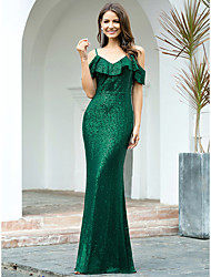 cheap -Mermaid / Trumpet Sparkle Sexy Wedding Guest Formal Evening Dress Spaghetti Strap Short Sleeve Floor Length Sequined with Sequin 2021