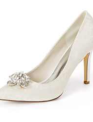 cheap -Women's Wedding Shoes Stiletto Heel Pointed Toe Sweet Wedding Party & Evening Lace Rhinestone Floral Summer White Light Purple Ivory