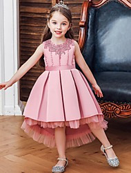 cheap -Princess / Ball Gown Knee Length Wedding / Party Flower Girl Dresses - Lace / Satin Sleeveless Jewel Neck with Sash / Ribbon / Pleats / Embroidery
