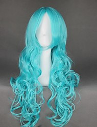 cheap -Cosplay Costume Wig Cosplay Wig Kaiou Michiru Sailor Moon Curly Cosplay Halloween Middle Part Wig Long Blue Synthetic Hair 25 inch Women's Anime Cosplay Party Blue