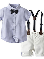 billiga -Småbarn Pojkar Grundläggande Färgblock Kortärmad Klädesset Ljusblå