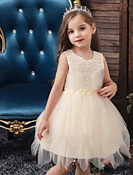 cheap -Princess / Ball Gown Short / Mini Wedding / Party Flower Girl Dresses - Tulle Sleeveless Jewel Neck with Sash / Ribbon / Appliques