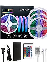 cheap -MASHANG 15M(3*5M) LED Strip Lights RGB Tiktok Lights 900LEDs Flexible Color Change SMD 5050 with 24 Keys IR Remote Controller and 100-240V Adapter for Home Bedroom Kitchen TV Back Lights DIY Deco