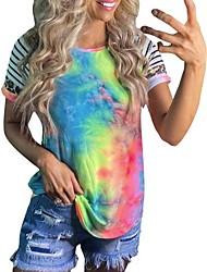 cheap -Women's Tops Striped T-shirt Round Neck Daily Summer Rainbow S M L XL
