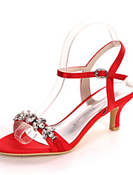 cheap -Women's Wedding Shoes Kitten Heel Open Toe Minimalism Wedding Party & Evening Satin Rhinestone Solid Colored Summer White Black Purple