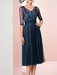 cheap -A-Line Mother of the Bride Dress Elegant V Neck Tea Length Tulle Half Sleeve with Pleats Appliques 2020