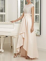 cheap -A-Line Mother of the Bride Dress Elegant Jewel Neck Asymmetrical Satin Short Sleeve with Pleats Beading 2020