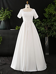 cheap -A-Line Wedding Dresses Scoop Neck Floor Length Satin Half Sleeve Formal Elegant with Pearls Appliques 2021