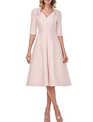 cheap -A-Line Mother of the Bride Dress Elegant V Neck Tea Length Satin Short Sleeve with Pleats 2020