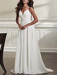 cheap -A-Line Wedding Dresses Spaghetti Strap Sweep / Brush Train Chiffon Over Satin Sleeveless Simple Beach Sexy Backless with Ruched 2021