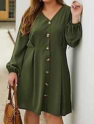 cheap -Women's A-Line Dress Knee Length Dress - Long Sleeve Solid Color Summer Casual 2020 Army Green XL XXL XXXL XXXXL