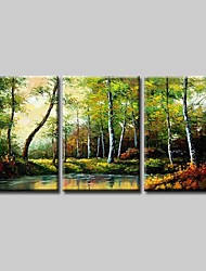 cheap -Oil Painting Hand Painted Horizontal Abstract Floral / Botanical Comtemporary Modern Stretched Canvas / Three Panels