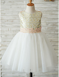 cheap -A-Line Knee Length Wedding / Birthday / Pageant Flower Girl Dresses - Tulle / Sequined Sleeveless Jewel Neck with Bows / Appliques