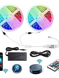 cheap -2 X 5M WIFI Smart LED Strip Lights Waterproof RGB Tiktok Lights 5050 Tape Light Work with IR24 key Controller
