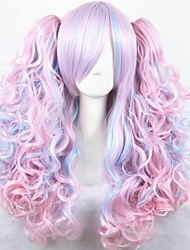 cheap -Cosplay Wig Lolita Curly Cosplay Halloween With 2 Ponytails Wig Long Rainbow Synthetic Hair 27 inch Women's Anime Cosplay Comfortable Mixed Color