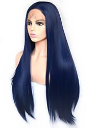 Недорогие -моде королева темно-синий длинный прямой синтетический парик фронта шнурка термостойкое волокно ежедневно носить для женщин