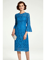 cheap -Sheath / Column Mother of the Bride Dress Jewel Neck Knee Length Lace 3/4 Length Sleeve with Lace 2020